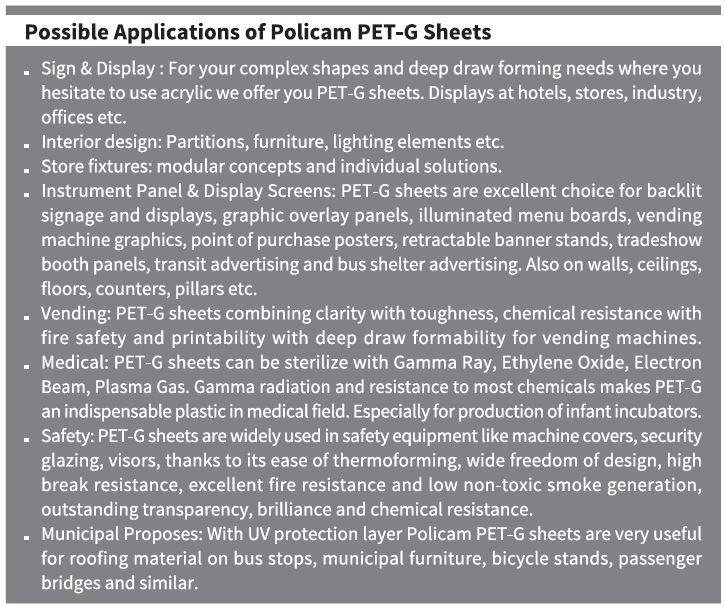 Policam Pet-G Sheet Applications